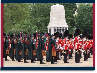 irish guards on parade on trooping of the colours